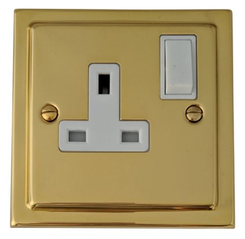 G&H TB9W Trimline Plate Polished Brass 1 Gang Single 13A Switched Plug Socket